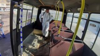 Kars'ta toplu taşıma araçları dezenfekte ediliyor