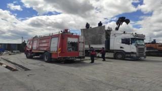 Kars'ta bir geri dönüşüm firmasında yangın çıktı