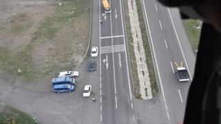 Kars İl Jandarma Komutanlığı helikopter destekli trafik denetimi gerçekleştirildi.